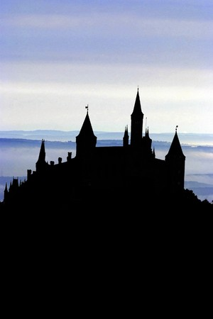 moody: A Silhouette of an ancient German castle in front of a moody sky