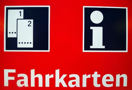 A german railway ticket sign, typically found at rail stations photo