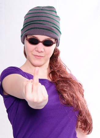 wooly: Girl with long copper hair, sunglasses and woolen hat , isolated on white background