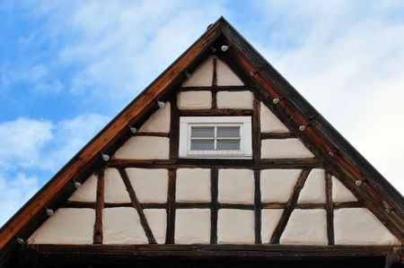 house gable: Shot of the gable of an old timbered house in Rottenburg Neckar, Baden-Wuerttemberg, Germany Stock Photo