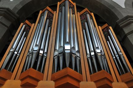 pipe organ: A typical pipe organ in a german catholic church