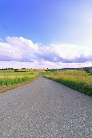 contryside: A country road on the heights of the swabian alb, Baden-Wuerttemberg, Germany