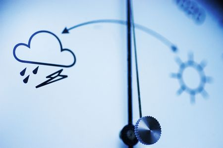 Barometer, focus on bad weather symbol