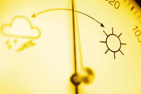 Barometer, focus on good weather symbol photo