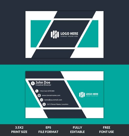 Creative and Corporate business card, red and black color business card template, ready to print modern business card vector template