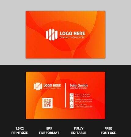 Modern and Corporate business card, yellow and red gradient business card template, ready to print red and yellow gradient modern business card