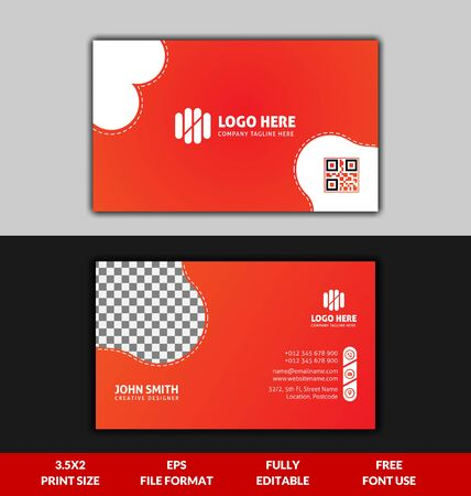 Modern and Corporate business card, yellow and red gradient business card template, ready to print modern business card Vektoros illusztráció