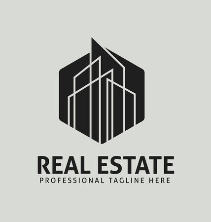 Modern Real Estate logo template. Corporate real estate business logo vector black and white template, Easy to edit vector file