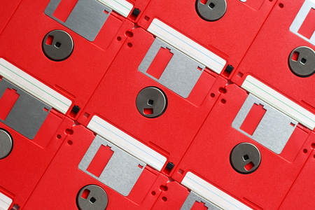 Floppy disks placed on a table, seen from above