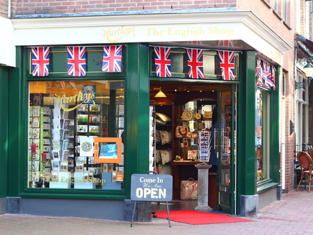 Arnhem, Netherlands - March 30, 2019: The English Shop in the ancient and cozy touristic center of Arnhem