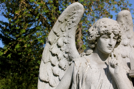 A pensive stone angel at Forest Lawn Cemetery, Buffalo, NY, USA