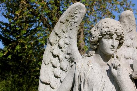 Um anjo de pedra pensativo no Forest Lawn Cemetery, Buffalo, NY, EUA