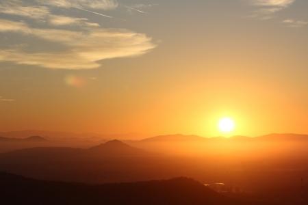 sierra: Fiery daybreak over the foothills of the Sierra Madre Occidental range near Mazatlan, Mexico