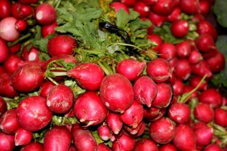 Rabanetes para a venda em um mercado ao ar livre
