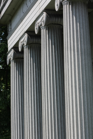 Stone ionic columns at Graceland Cemetery, Chicago, Illinois, USA