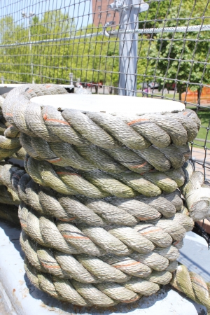 Coils of weathered rope on a ship