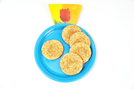 Cookies on Blue plate