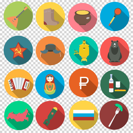 valenki: Russia Moscow. Collect of vector set russian icons in flat design. Transparent background. Vector illustration.