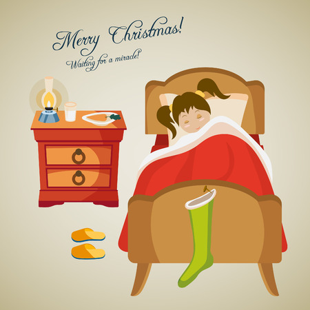 blanket: Christmas card with a sleeping baby girl. Cartoon design. Vector illustration. Illustration