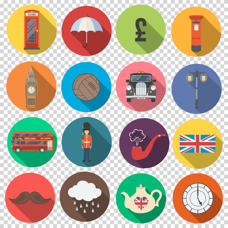 England London UK. Collect of vector set england icons in flat design. Transparent background. Vector illustration. Çizim