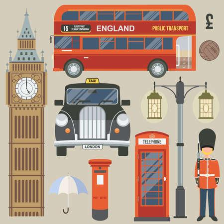 english bus: Angleterre, Londres, Royaume-Uni. Collection d'icônes de couleur. Vector illustration Illustration