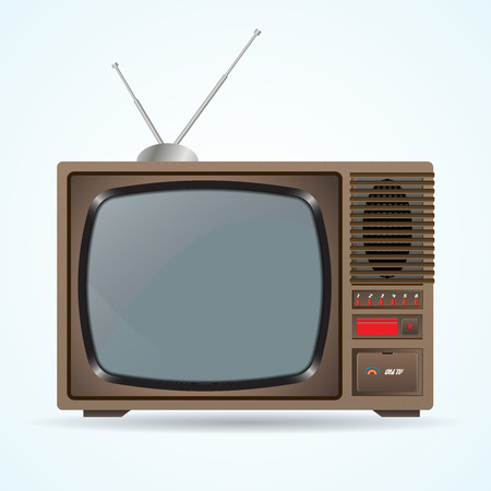 televisor: Illustration of the good old retro TV without remote control on blue background. Old TV with antenna Illustration