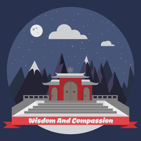 star sky: Night temple in the mountains. Vector illustration Illustration