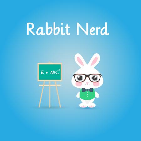 Scientific rabbit with glasses. Nerd Background.