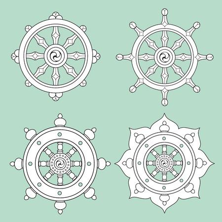 ダルマ ホイール Dharmachakra アイコン。仏教のシンボル。