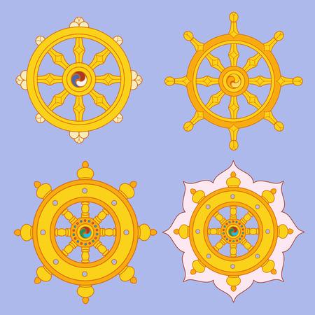 dharma: Dharma Wheel Dharmachakra Icons. Buddhism symbols.