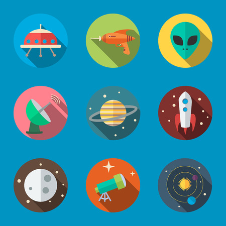 Space icons in flat design, vector. Illustration