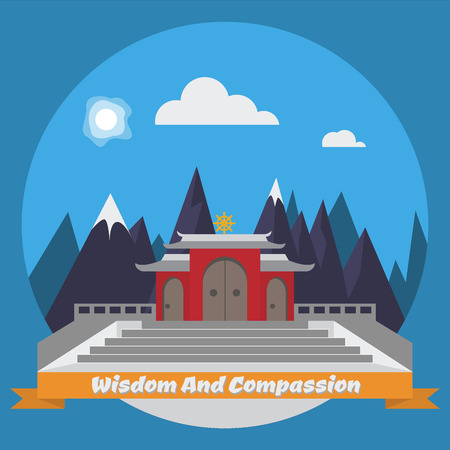 buddhist: Morning temple in the mountains. Vector illustration