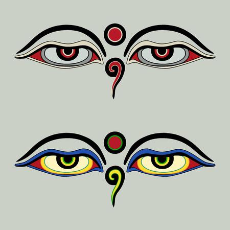 monasteries: Eyes of Buddha - Buddhas Eyes - Buddhist Eyes, symbol wisdom enlightenment. Nepal Illustration