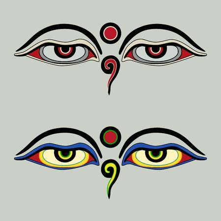 Eyes of Buddha - Buddhas Eyes - Buddhist Eyes, symbol wisdom enlightenment. Nepal Illusztráció