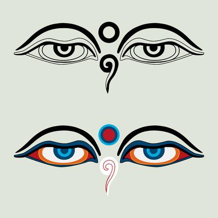 仏 -「仏の目」- 仏教目、シンボル知恵悟りの目。ネパール