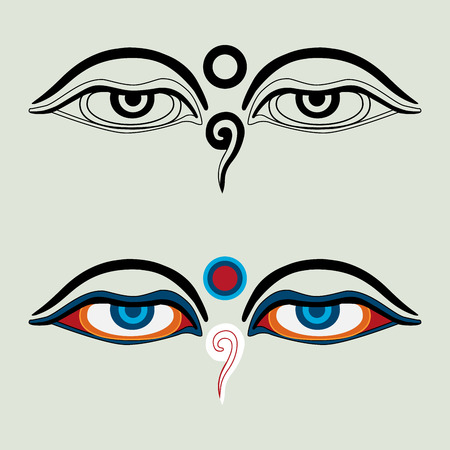tibetan: Eyes of Buddha - Buddhas Eyes - Buddhist Eyes, symbol wisdom enlightenment. Nepal Illustration