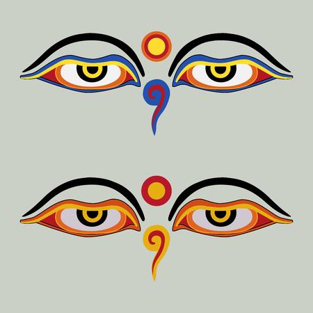 enlightenment: Eyes of Buddha - Buddhas Eyes - Buddhist Eyes, symbol wisdom enlightenment. Nepal Illustration