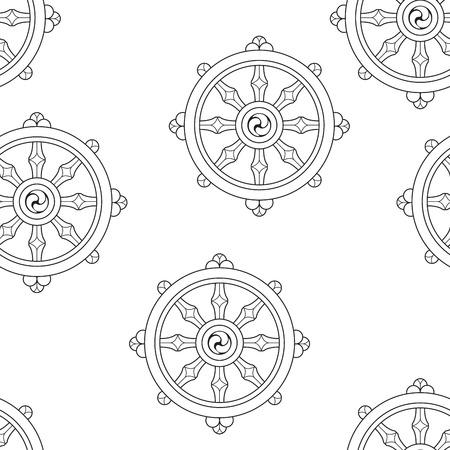 Wheel of Dharma Pattern Dharmachakra Pattern Buddhism. Illustration