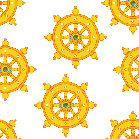 Wheel of Dharma Pattern Dharmachakra Pattern Buddhism. Vectores