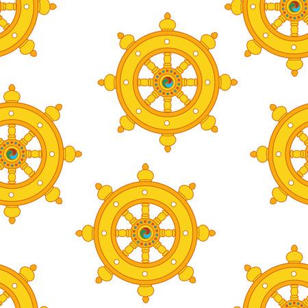 Wheel of Dharma Pattern Dharmachakra Pattern Buddhism. Vectores