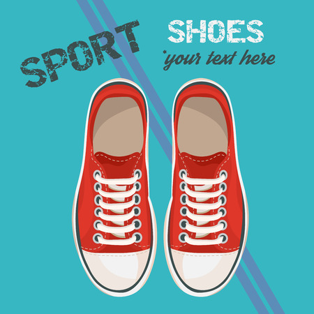 Red sneakers for unisex. Sport shoes. Vector illustration isolated on blue background. Vectores