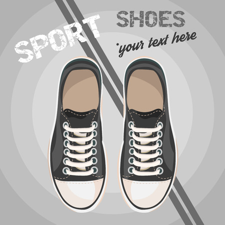unisex: Black sneakers for unisex. Sport shoes. Vector illustration isolated on grey circles background.