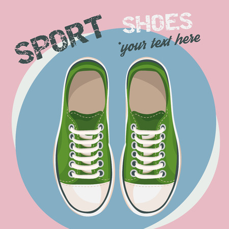 unisex: Green sneakers for unisex. Sport shoes. Vector illustration isolated on rose circle background. Illustration