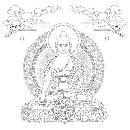 Ilustración vectorial con Buda en nubes de meditación y de la rueda del Dharma. Gautama Buda. Diseño blanco y negro.