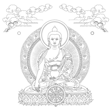 nirvana: Vector illustration with Buddha in meditation clouds and Wheel of Dharma. Gautama Buddha. Black and white design.