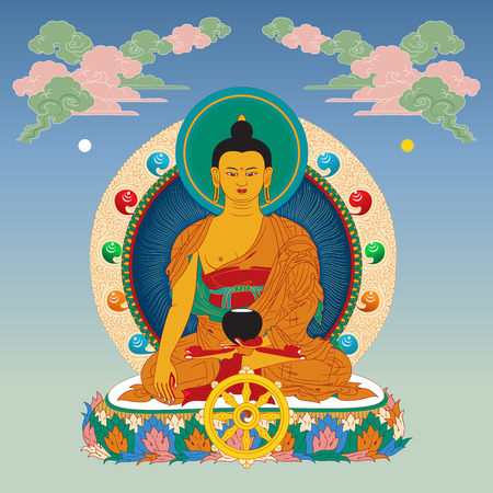 tibetan: Vector illustration with Buddha in meditation clouds and Wheel of Dharma. Gautama Buddha.