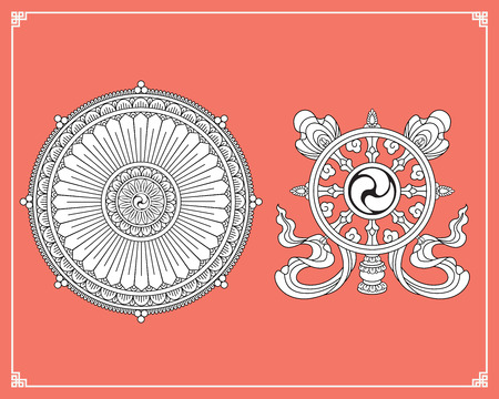 Dharma Wheel, Dharmachakra Icons. Wheel of Dharma in black and white design. Buddhism symbols. Symbol of Buddha's teachings on the path to enlightenment, liberation from the karmic rebirth in samsara.