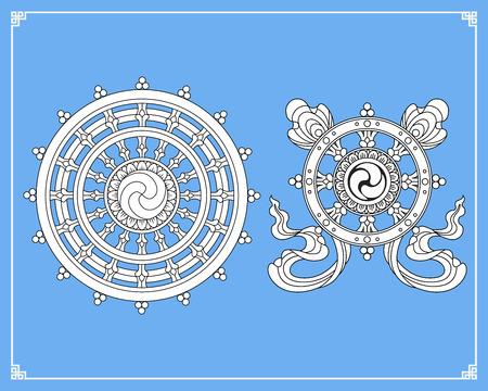 ダルマ ホイール、Dharmachakra アイコン。黒と白のデザインでダルマのホイール。仏教のシンボル。悟り、輪廻、カルマの復活からの解放へのパスに仏