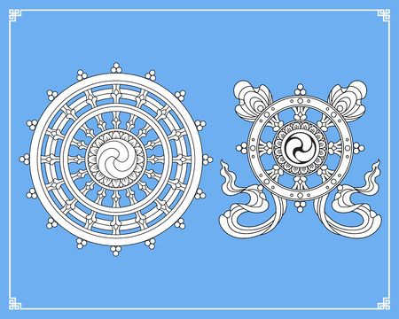 Dharmawiel, Dharmachakra-pictogrammen. Wiel van Dharma in zwart en wit ontwerp. Boeddhisme symbolen. Symbool van Boeddha's leer op het pad naar verlichting, bevrijding van de karmische wedergeboorte in samsara.