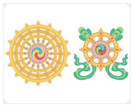 ダルマ ホイール、Dharmachakra アイコン。フラットなデザインでダルマのホイール。仏教のシンボル。悟り、輪廻、カルマの復活からの解放へのパスに